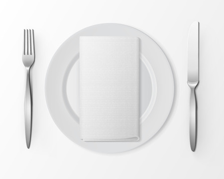 napkin: Vector White Empty Flat Round Plate with Silver Fork and Knife and White Folded Rectangular Napkin Top View Isolated on White Background. Table Setting