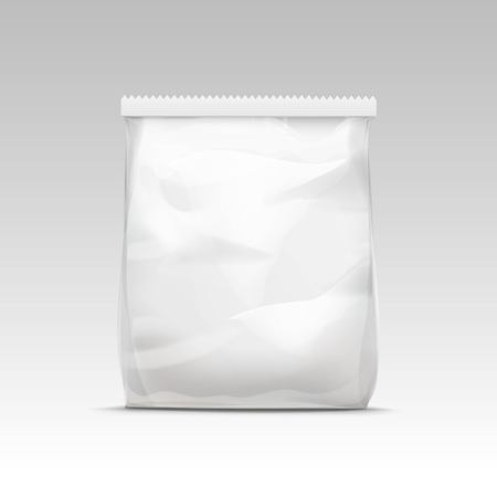 Vector White Vertical Sealed Empty Transparent Plastic Bag for Package Design  Close up Isolated on White Background