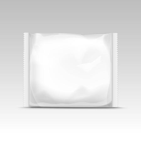 plastico pet: Vector horizontal blanca sellada transparente vacía bolsa de plástico para el diseño de envase cerca aisladas sobre fondo blanco Vectores