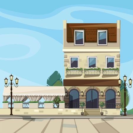 front view: Vector Old Europian Shop Boutique Museum Restaurant Cafe Store Front with Big Windows, Place for Name, Greenery, Street Lanterns and Paving Stones Illustration