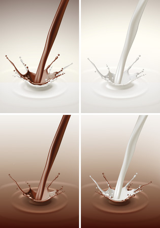 chocolate splash: Vector Set of Milk Chocolate Splash Stream Flow Close up Isolated on Background