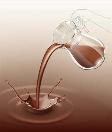 vaso de leche: Vector chocolate Splash corriente de flujo de jarra de cristal de primer plano aislado en el fondo