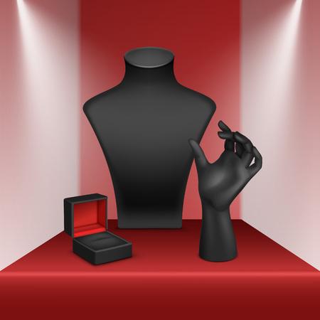Vector Conjunto de anillo de la pulsera del collar Negro Stand para la joyería con la caja de joyería de cerca aislado en escaparate Rojo