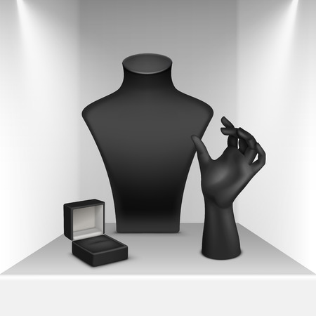 bust up: Vector Set of Black Necklace Bracelet Ring Stand for jewelry with Jewellery Box Close up Isolated in White Showcase