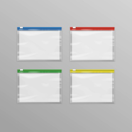 Vector Set of Colored Red Blue Green Yellow Sealed Empty Transparent Plastic Zipper Bags Close up Isolated on Background Illustration