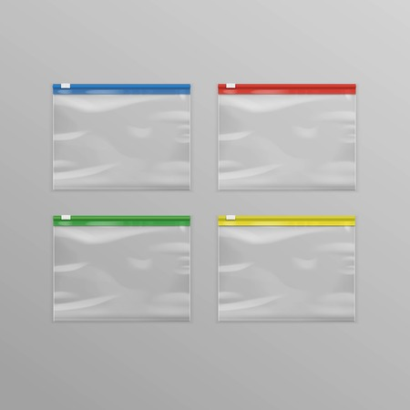 sealed: Vector Set of Colored Red Blue Green Yellow Sealed Empty Transparent Plastic Zipper Bags Close up Isolated on Background Illustration
