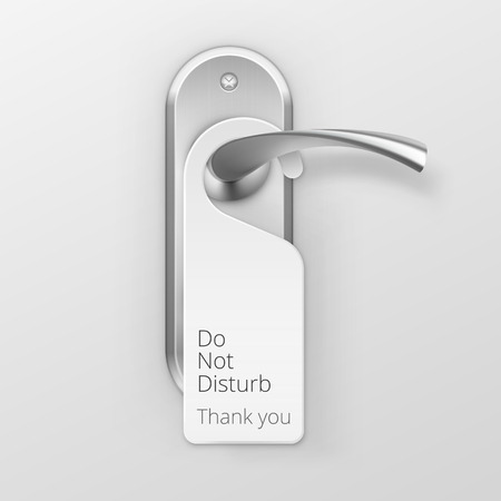aluminum: Vector Metal Door Handle Lock with Hanger Isolated on Background