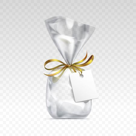 pouch: Vector Empty Transparent plastic gift bag for package design with golden ribbon and blank white label Close up Isolated on Transparent  Background