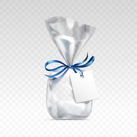 cellophane: Vector Empty Transparent plastic gift bag for package design with blue shiny ribbon and blank white label Close up Isolated on Transparent  Background