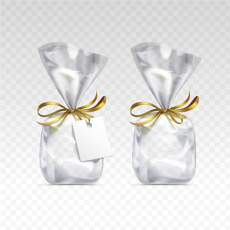 gift bags: Vector Empty Transparent plastic gift bags for package design with golden ribbons and blank white label Close up Isolated on Transparent  Background