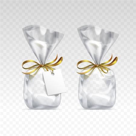 Vector vacío bolsas de plástico transparentes para el diseño de regalo paquete con cintas de oro y etiqueta en blanco de cerca aislado en el fondo transparente