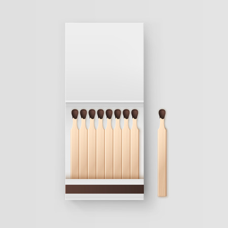smoke stack: Vector Opened Blank Book Of Matches Top View Isolated on White Background