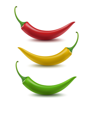 chilli pepper: Vector Set of Red Yellow Green Hot Chili Pepper Isolated on White Background Illustration