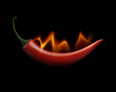 vegetable cook: Vector Red Hot Chili Pepper on Fire and Flame Isolated on White Background