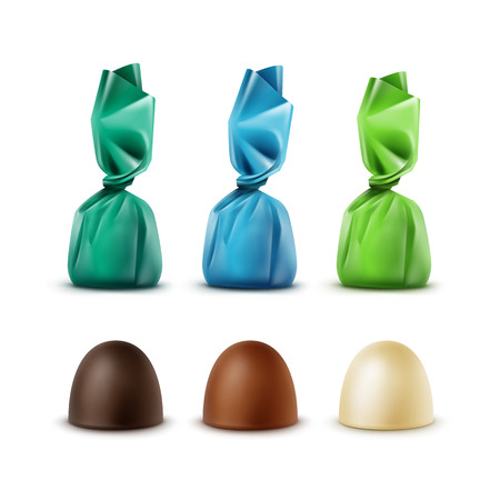 bitter: Vector Set of Realistic Dark Black Bitter White Milk Chocolate Candies in  Colored Green Blue Glossy Foil Wrapper Close up Isolated on White Background Illustration