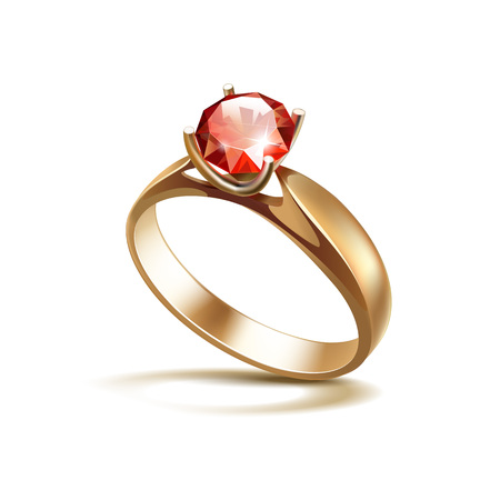 ruby red: Vector Gold Engagement Ring with Red Shiny Clear Diamond Close up Isolated on White Background Illustration