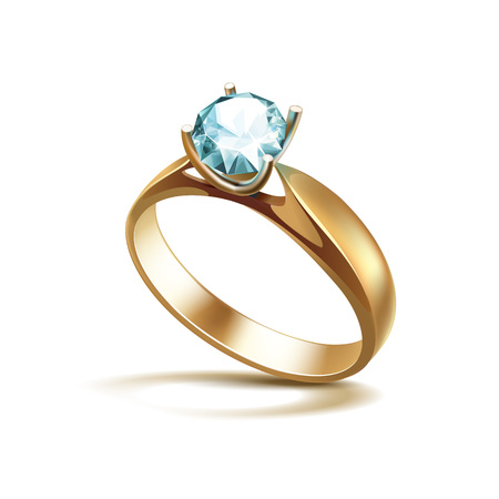 Vector Gold Engagement Ring with Light Turquoise Shiny Clear Diamond Close up Isolated on White Background Illustration