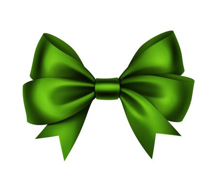 green ribbon: Vector Shiny Green Satin Gift Bow Close up Isolated on White Background Illustration