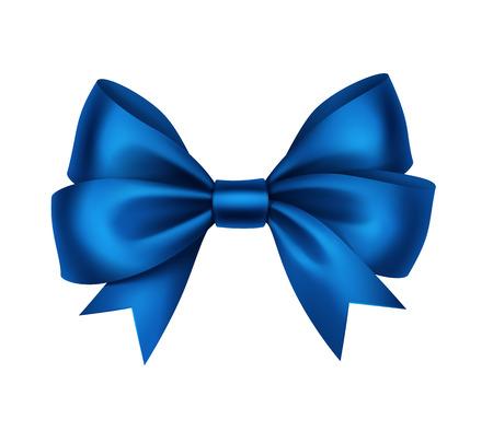 blue bow: Vector Shiny Blue Satin Gift Bow Close up Isolated on White Background Illustration