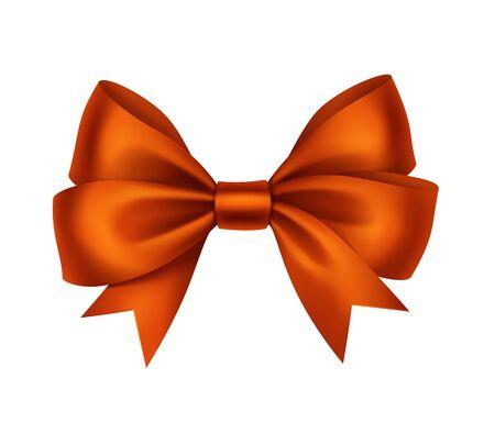 bow ribbon: Vector Shiny Orange Satin Gift Bow Close up Isolated on White Background