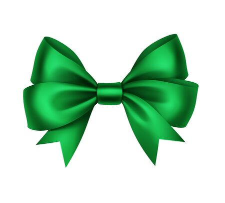 Vector Shiny Green Satin Gift Bow Close up Isolated on White Background Illustration