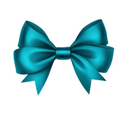 turquesa: Vector Shiny Turquoise Satin Gift Bow Close up Isolated on White Background