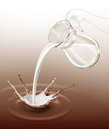 Vector cioccolato al latte spruzzata di flusso da brocca di vetro vicino isolato su sfondo Vettoriali