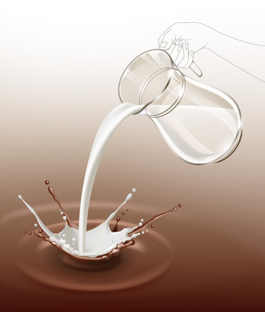 pouring: Vector Milk Chocolate Splash Stream Flow from Glass Jug Close Up Isolated on Background