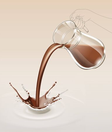 chocolate splash: Vector Milk Chocolate Splash Stream Flow from Glass Jug Close Up Isolated on Background