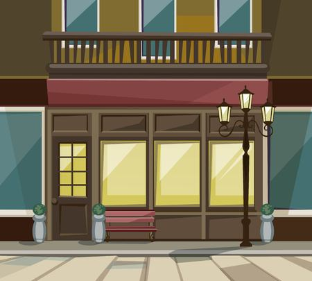 paving: Vector Old Europian Shop Boutique Museum Restaurant Cafe Store Front with Big Windows, Place for Name, Greenery, Street Lanterns and Paving Stones Illustration