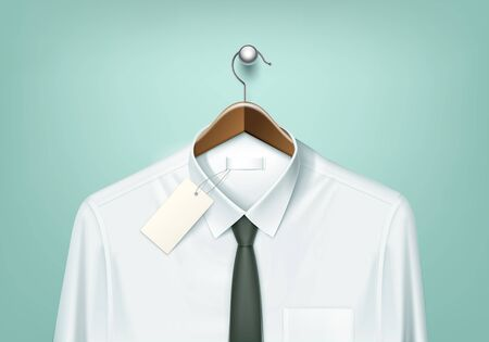 white shirt: Vector Clothes Coat Brown Wooden Hanger with White Shirt and Black Tie with Blank Tag Label Close Up Isolated on Background