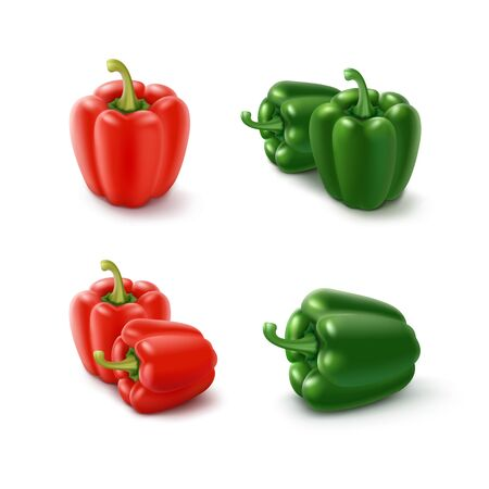bell peppers: Vector Set of Colored Green and Red Sweet Bulgarian Bell Peppers, Paprika Isolated on White Background
