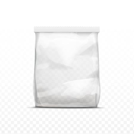 plastico pet: Vector vertical sellada transparente vacía la bolsa de plástico para el paquete de diseño de cerca aislado en el fondo transparente