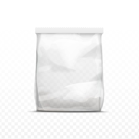 Vector White Vertical Sealed Empty Transparent Plastic Bag for Package Design  Close up Isolated on Transparent  Background Çizim
