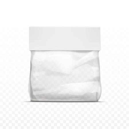 Vector vertical sellada transparente vacía la bolsa de plástico para el paquete de diseño de cerca aislado en el fondo transparente