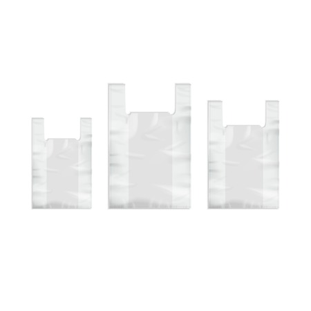 disposable: Vector Set of White Empty Disposable Plastic Shopping Bags with Handles Close up Isolated on White Background