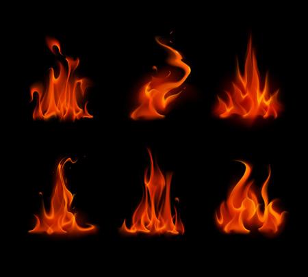 다른 레드 스칼렛 화재 불꽃 모닥불의 집합이 배경에 고립