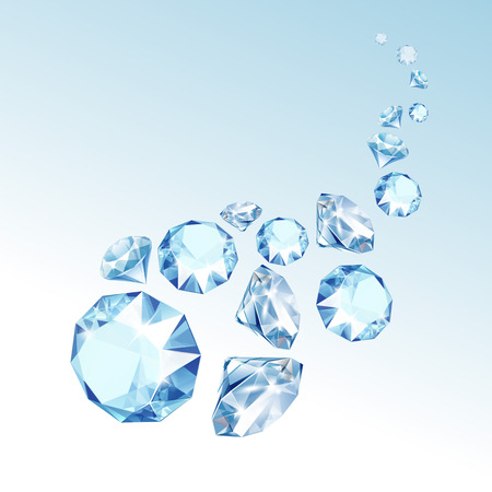 Vector Blue Shiny Clear Diamonds Fall down Close up Isolated on  Background