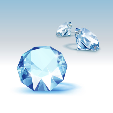 Vector Blue Shiny Clear Diamonds Close up Isolated on  Background Illustration