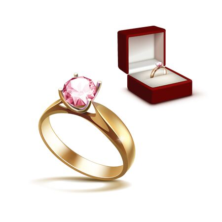 pellucid: Vector Gold Engagement Ring with Pink Shiny Clear Diamond in Red Jewelry box Close up Isolated on White Background