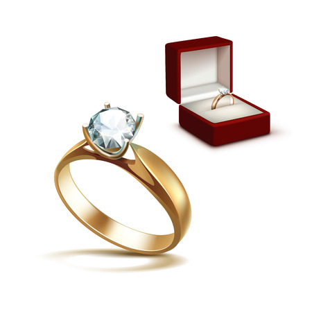 Vector Gold Engagement Ring with White Shiny Clear Diamond in Red Jewelry box Close up Isolated on White Background