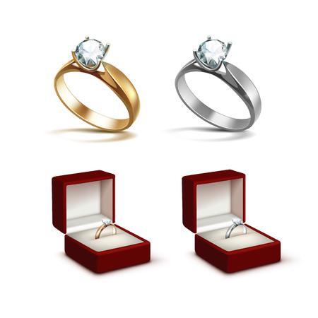 Vector gli anelli di fidanzamento dell'oro e dell'argento con chiaro diamante brillante bianco nella fine rossa della scatola dei gioielli su isolata su fondo bianco Archivio Fotografico - 61663093