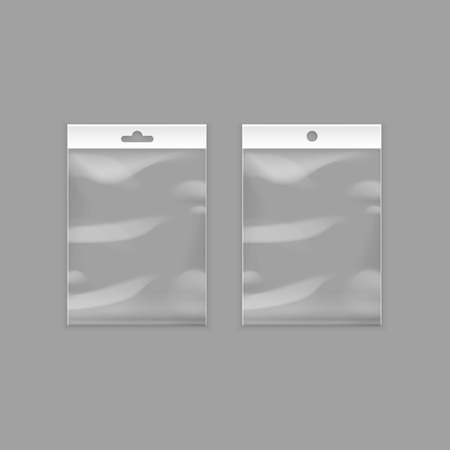 pouch: Vector Sealed Empty Transparent Plastic Pocket Bags with Hang Slot Close up Isolated on Background