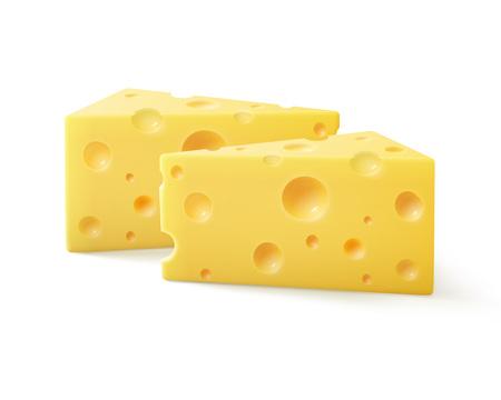 vector driehoekige stukken van zwitserse kaas close-up geïsoleerd op