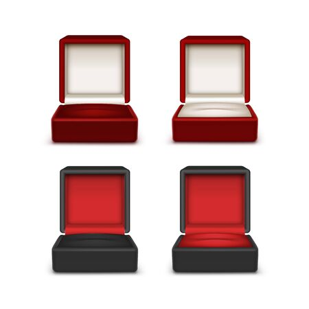 jewelry boxes: Vector Set of Empty Colored Red Black and White Velvet Opened gift jewelry boxes Close up Isolated on White Background