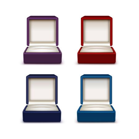 jewelry boxes: Vector Set of Empty Colored Red Blue and Purple Velvet Opened gift jewelry boxes Close up Isolated on White Background