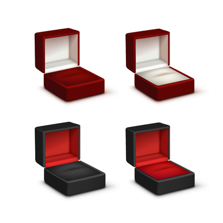 knickknack: Vector Set of Empty Colored Red Black and White Velvet Opened gift jewelry boxes Close up Isolated on White Background