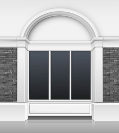 glass windows: Vector Classic Shop Boutique Building Store Front with Glass Windows Showcase and Place for Name Isolated on White Background