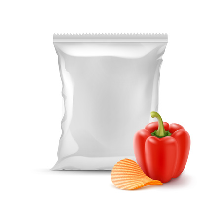 Vector Potato Ripple Crispy Chips with Paprika and Vertical Sealed Empty Plastic Foil Bag for Package Design Close up Isolated on White Background Illustration