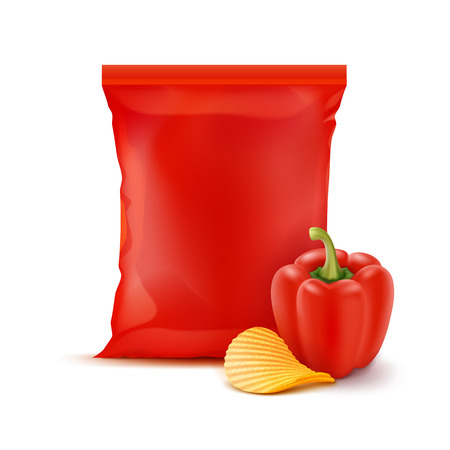 Vector Potato Ripple Crispy Chips with Paprika and Vertical Sealed Empty Red Plastic Foil Bag for Package Design Close up Isolated on White Background